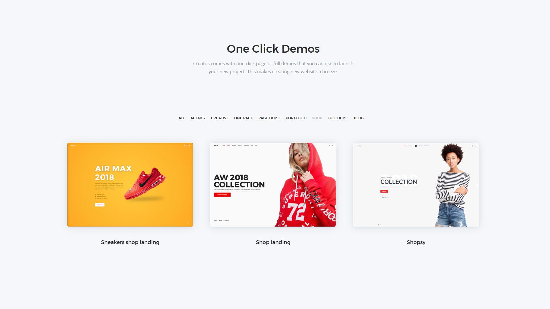 Creatus Shop Page Templates and Demos