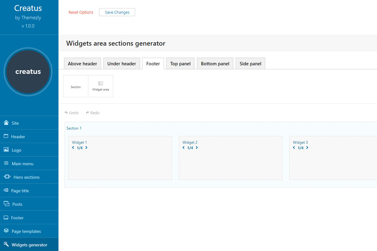 Widgets Generator Theme Option