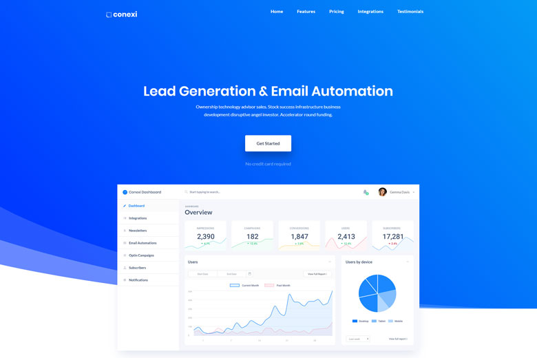 Conexi – SaaS one page landing