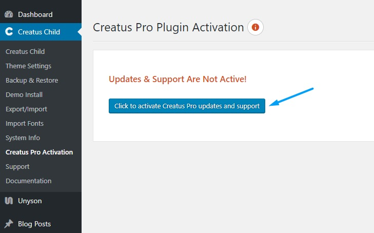 Creatus Pro Plugin Updates Activation