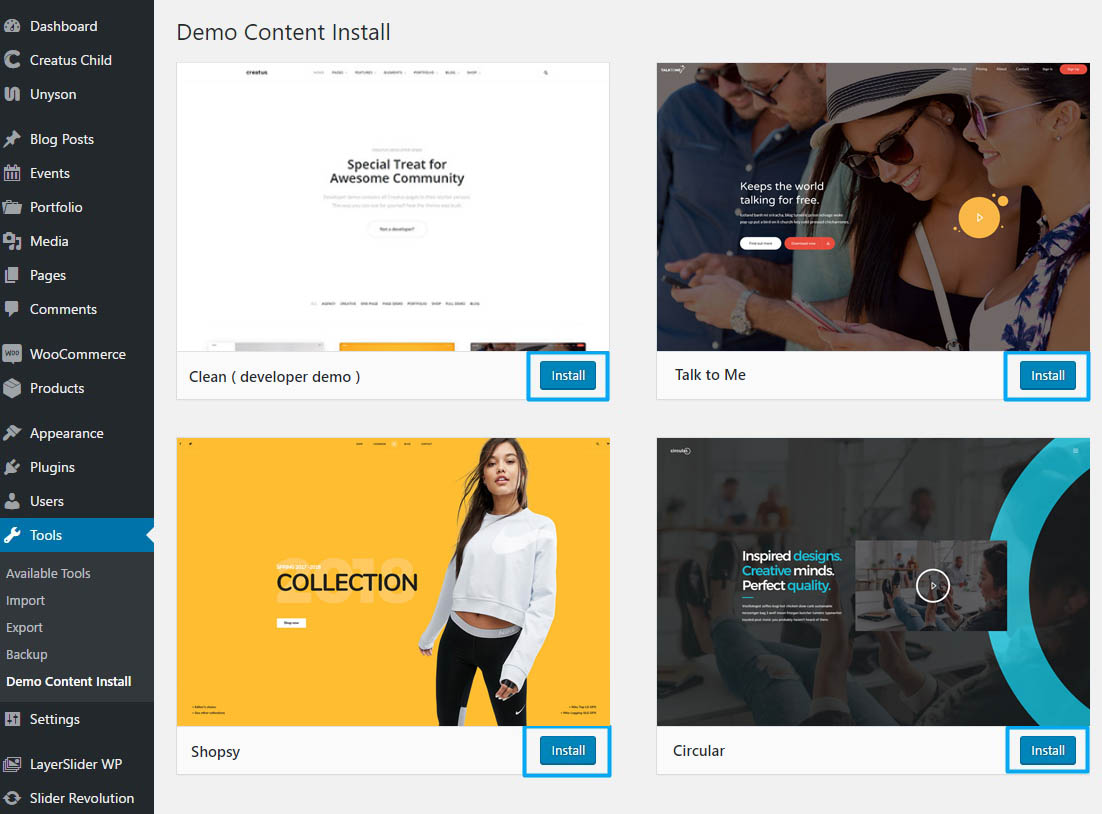 Install Creatus WordPress Theme 2