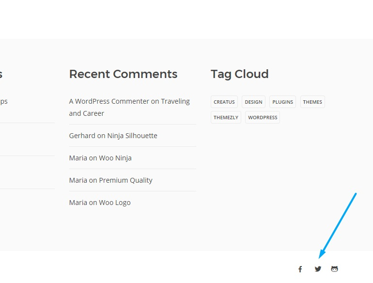 Creatus WordPress Theme Social media front-end